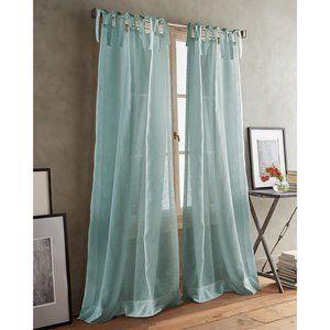 SET OF 2 DKNY Tab Top Sheer Curtain Panels Aqua